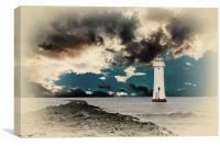 Fort Perch Lighthouse on the River Mersey Liverpoo, Canvas Print