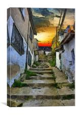 A digital painting of the colorful back streets of, Canvas Print