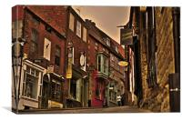 Shops and Cobbles, Steep Hill, Lincoln, Canvas Print