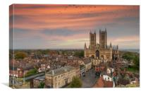 Lincoln Cathedral as sun is setting, Canvas Print