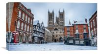 Lincoln Cathedral and a snowy Bailgate, Canvas Print