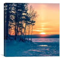Winter sunset on the forest lake, Canvas Print