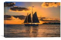 Sunset Sail and Plane, Canvas Print