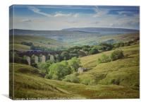 Train crossing Dent Head Viaduct in the Yorkshire , Canvas Print