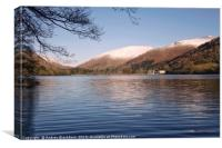 Grasmere with snow capped fells in the background., Canvas Print