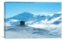Lonely hut in high mountains, Canvas Print
