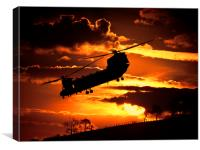 chinook at sunset, Canvas Print