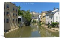 Sunny alzette river scene in Luxembourg from Rue M, Canvas Print