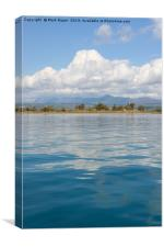 Beautiful blue mediterranean sea with clouds refle, Canvas Print