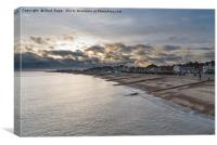 Felixstowe seafront with golden sun behind clouds , Canvas Print