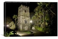 St. Just in Roseland at Night, Cornwall, Canvas Print