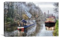 Winter on the canal at Burscough, Canvas Print