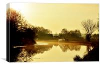 Late afternoon mist on the Canal, Canvas Print