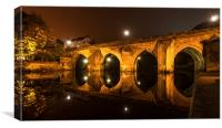 Elvet Bridge in Durham -  Light and reflection, Canvas Print