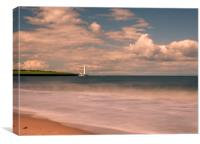St. Marys Lighthouse from The Beach , Canvas Print