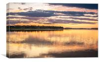 Budle Bay Sunset at high tide , Canvas Print