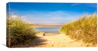 Through the dunes over to Budle Bay, Canvas Print