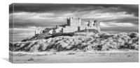 Imposing Bamburgh Castle in Mono, Canvas Print