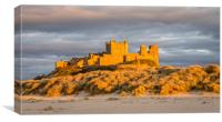 Sun setting on Iconic Bamburgh Castle, Canvas Print