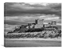 Sunset at Bamburgh Castle in B&W, Canvas Print