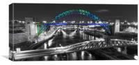 Coloured Tyne Bridge, Canvas Print