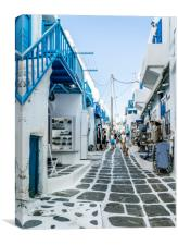 The Streets of Mykonos, Canvas Print