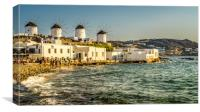 Mykonos town cliff top Windmills, Canvas Print
