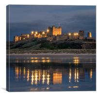 Twilight at Bamburgh Castle , Canvas Print