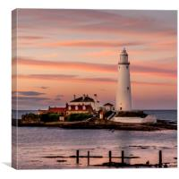 Evening twilight St Mary's Lighthouse, Canvas Print