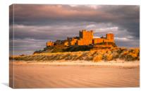 Bamburgh Castle in the sunset , Canvas Print