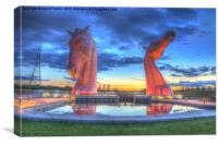 the Kelpies at sunset, Canvas Print