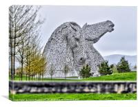 The Kelpies HDR image at the Helix , Falkirk, Canvas Print