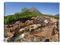 Buachaille Etive Mor falls on the River Coupall , , Canvas Print
