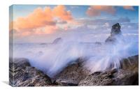 Crashing waves, Dorset coast, near Lulworth, Canvas Print