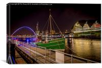 The Tyne at night, Canvas Print