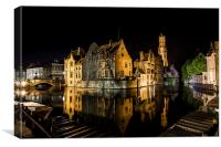 Bruges relections, Canvas Print