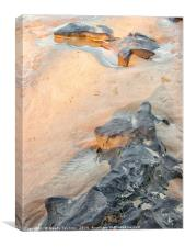 Rocks on beach, late afternoon, Queensland, Austra, Canvas Print