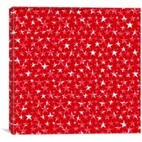 Messy White stars on bold red background , Canvas Print