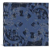 Blue stripes on white background with abstract tex, Canvas Print