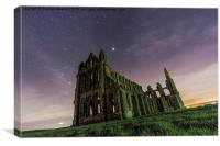 Whitby Abbey at Night Under the Stars, Canvas Print