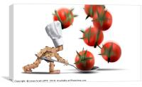 Cute chef box character catching tomatoes, Canvas Print