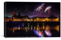 Kings Lynn fireworks over the river Ouse, Canvas Print