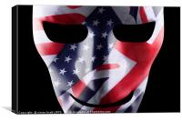 Mask with GB and USA flags overlaid, Canvas Print