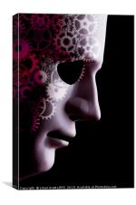 A.I. robotic face close up with cogs, Canvas Print