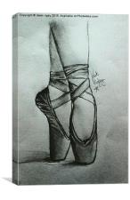 Ballet Shoes in Charcoal, Canvas Print