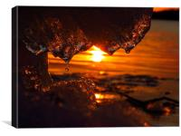 Water droplet with sunset, Canvas Print