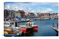 Arbroath harbour on a sunny day , Canvas Print