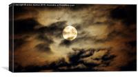 full moon in a cloudy Arbroath night, Canvas Print