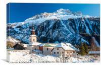 Argentiere village and church in winter. , Canvas Print