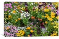 Flowerbed crammed with summer flowers, Canvas Print